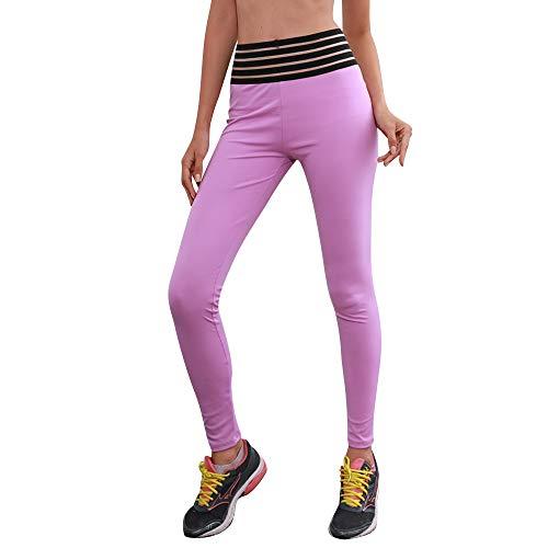 URIBAKE Women Striped Hight Waist Leggings Super Stretch Yoga Fitness Running Stretch Sports Pants Trouser -