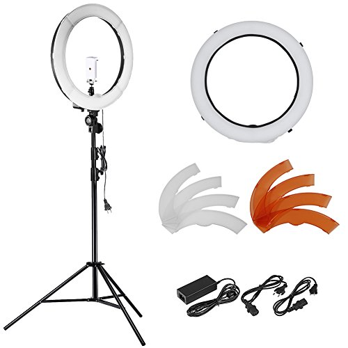 Neewer 18 inches 55W LED 5500K Dimmable Ring Light Kit Includes: (1)SMD Ring Light+(1)45-102 inches Light Stand+(1)Tripod Mount+(1)Diffuser+(1)Phone Holder for Video, Makeup, Portrait and Photography by Neewer