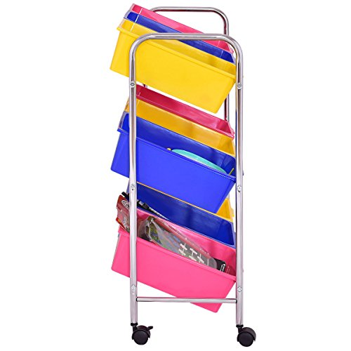 KCHEX>Toy Bin Cart Rack Organizer Kids Childrens Storage Box Playroom Bedroom Shelf>This is Our 9 Plastic Drawer Rolling cart, which is of and Brand New. Thanks to its Colorful Plastic by KCHEX (Image #3)