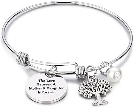 CJ&M Family Tree Bracelet The Love Between Mother and Daughter Is Forever Tree of Life Bracelet Mother Gift Bangle, Christmas Gifts,Mother's Day Gifts