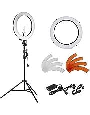 Neewer 18 Zoll 55W LED 5500K Dimmbare Ringlicht Set enthält: SMD-Ring-Licht + 113-260 cm Lichtstativ + Stativbefestigung + Diffusor + Telefon-Halter für Video, Make-Up, Porträt und Fotografie