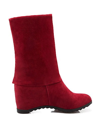 Vestido Zapatos Red Cn43 De Redonda Tacón us10 Eu42 Cuña us9 Eu40 Beige 5 La Xzz Uk8 Rojo 5 Punta Moda Negro Uk7 Vellón Red Cuñas A Cn41 Botas Mujer Sq5dxcwg7