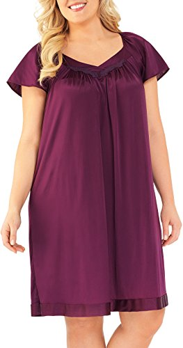 - Exquisite Form Women's Coloratura Sleepwear Short Flutter Sleeve Gown 30109, Mystic Berry, Medium