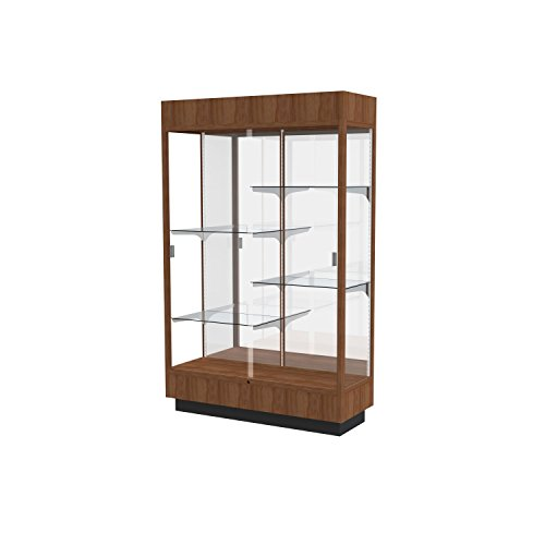 Heritage Lighted Floor Display Case, 48''W x 70''H x 18''D, Hardwood Walnut Finish,  Mirror Back by Waddell