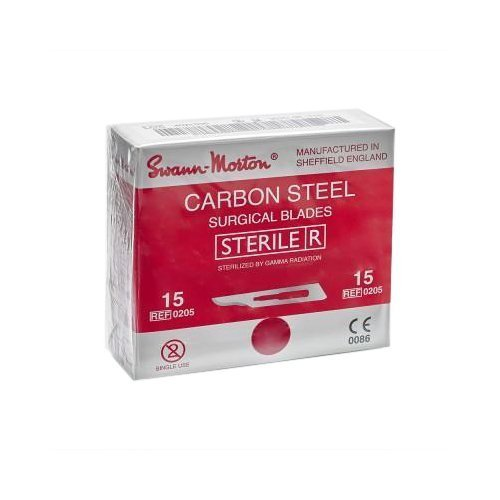 Carbon Sterile Surgical Blades No.15 Pack of 100 (Ideal for Hijama Cupping)
