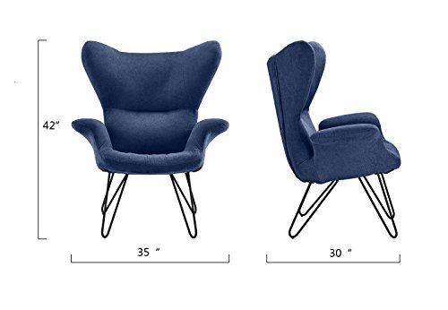 Accent Chair for Living Room, Linen Arm Chair with Natural Wooden Legs (Navy) by Divano Roma Furniture (Image #5)