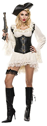 Starline Women's Pirate Maiden Sexy 2 Piece Costume Set, Ivory/Black, Large ()