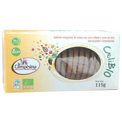 Celibio galletas integrales de avena con coco rallado y zumo de piña, sin gluten y ecológicas, 115g: Amazon.es: Alimentación y bebidas