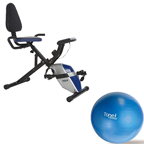 190-Compact Recumbent Bike High Torque 3-Piece Smooth Crank System, Heart Pulse And A 8 Level Tension System With Heart Pulse Sensors And 65cm Blue Anti-Burst Stability Ball ProGear