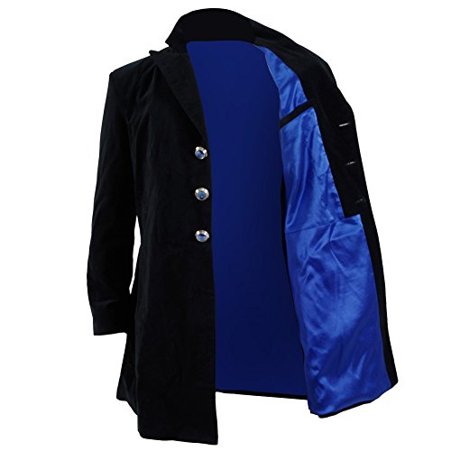 12th Doctor Costume Jacket (Cosdaddy Christmas Cosplay Costume Black&Navy Velvet Coat (M, Coat))