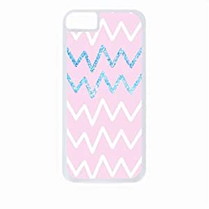 Pink and Blue Glitter Chevrons- Case for the Apple Iphone 6-Hard White Plastic Outer Shell