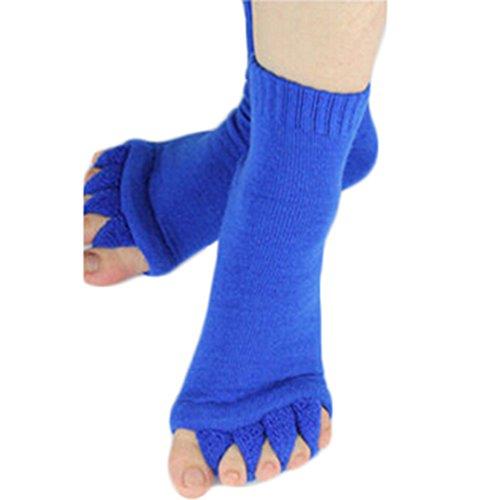 Polytree Yoga Sports Five Toe Separator Socks Alignment Pain Massage Socks - Blue