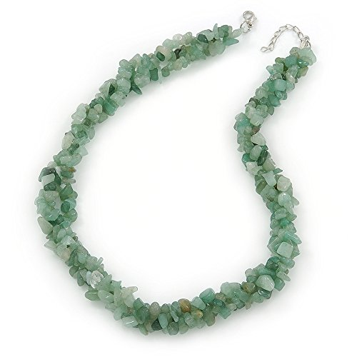 3 Strand Twisted Jade Nugget Necklace With Silver Tone Closure - 43cm L/ 3cm Ext