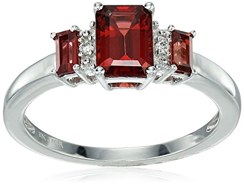 10k White Gold Garnet Baguette & Octagon with Diamond Accent Ring, Size 7 ()