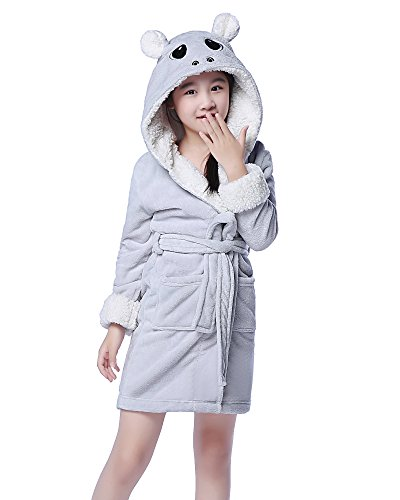 NEWCOSPLAY Children's Animal Hooded Pajamas Bath Robe (5Y/7Y, Gray - Fleece Hippo
