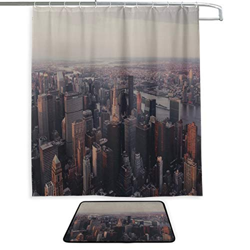 RH Studio Shower Curtain Set of 2 New York Chrysler Building NYC Mat Set Waterproof Fabric Bathroom Curtain and Rug Set with Hooks (Nyc Building Shower Curtain)