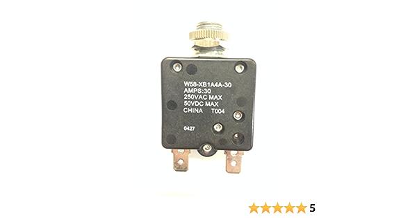 TE Connectivity W58-XB1A4A-8 Circuit Breaker; Therm; Push; Cur-Rtg 8A; Panel; 1 Pole; Vol-Rtg 250//50VAC//VDC
