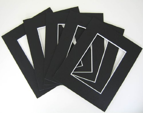 Set of (30) 16x20 8-ply BLACK mat for 11x14 photo w/ Back + bag by Golden State Art