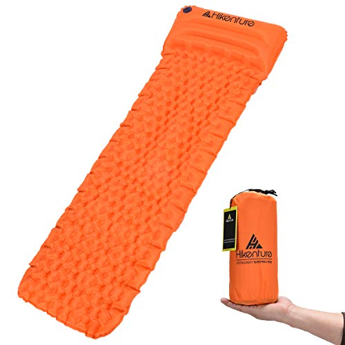 Cheap Hikenture Sleeping Pads for Backpacking – Compact & Ultralight Camping Air Mats with Build-in Pillow(Orange)
