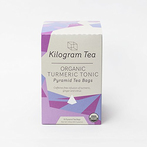 Kilogram Tea - Organic Turmeric Tonic Pyramid Teabags - Caffeine Free - Sustainably Produced - 15 count box