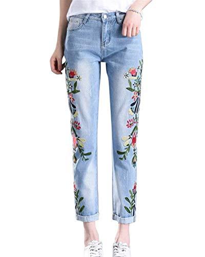 Pour Crayon Boutonné Trousers Poches Femmes fit Devant Brodé Skinny Betrothales Slim Extensible Pantalon Pants Hellblau1 En Jeans Denim Tl13cFuKJ