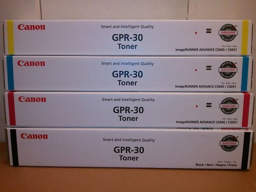 (Canon GPR-30 OEM Genuine Toner Cartridge Combo for Canon ImageRunner C5045, C5051 Printer (BCMY One Each: 2789B003AA, 2801B003AA, 2793B003AA, 2797B003AA)