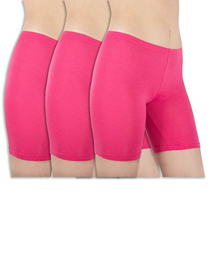 Sexy Basics Womens 3 Pack Sheer & Sexy Cotton Spandex Boyshort Yoga Bike Shorts (Small -5, FUSCHIA)