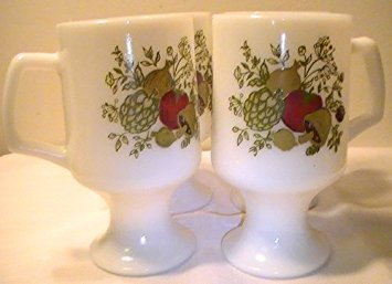 Corning Spice of Life Pedestal Milk Glass Mugs - Set of 4