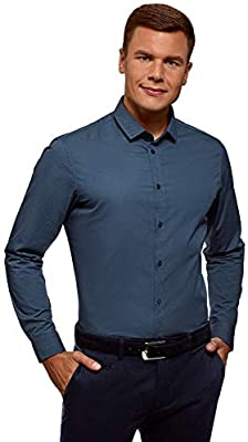 oodji Ultra Mens Slim-Fit Fine Pattern Shirt