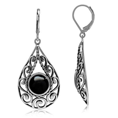 Created Black Onyx 925 Sterling Silver Filigree Swirl & Spiral Drop Shape Leverback Earrings