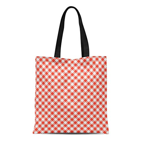 Semtomn Cotton Canvas Tote Bag Gingham Pattern of Red Picnic Cooking Checkered Table Classic Reusable Shoulder Grocery Shopping Bags Handbag Printed