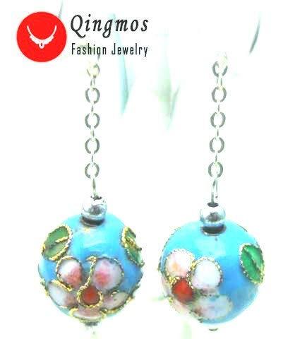 Qingmos Trendy Cloisonne Earrings for Women with 12Mm Round Green Cloisonne &Amp; White Flower Dangle 2&Quot; Earring Fine Jewelry Ear213 (Sky-Blue)