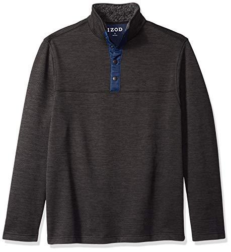 IZOD Men's Premium Essentials Spectator Button Mock Neck Fleece Pullover, Bone Asphault, X-Large