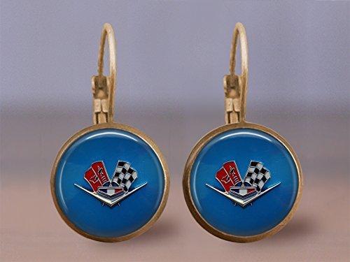 - Vintage Corvette Emblem Leverback Earrings- 16mm