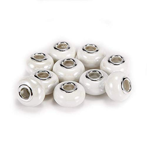 (BRCbeads Top Quality 10Pcs Silver Plate White Color Porcelain Murano Lampwork European Glass Crystal Charm Beads Spacers Fit Troll Chamilia Carlo Biagi Zable Snake Chain Charm)