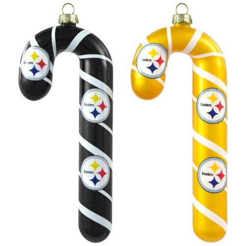 Pittsburgh Steelers Candy (NFL Pittsburgh Steelers Blown Glass Candy Cane Ornament Set)