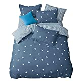 Chesterch Prevoster Duvet Cover set Microfiber Triangle Blue Bedding,Duvet & Down Comforter Cover and 2 Pillowcases,3 Piece,Full Queen Size