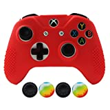 Cheap Hikfly Non-Slip Studded Rubber Oil Silicone Controller Cover with 4pcs Thumb Grips Caps Kit for Xbox One X/One S/SlimController(Red)