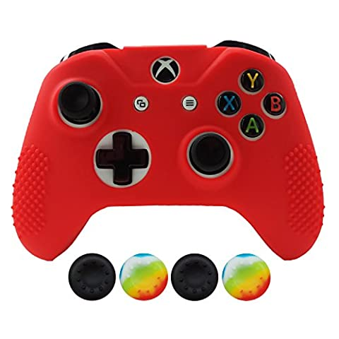 Hikfly Non-Slip Studded Rubber Oil Silicone Controller Cover with 4pcs Thumb Grips Caps Kit for Xbox One Slim / S (Minecraft Nds)