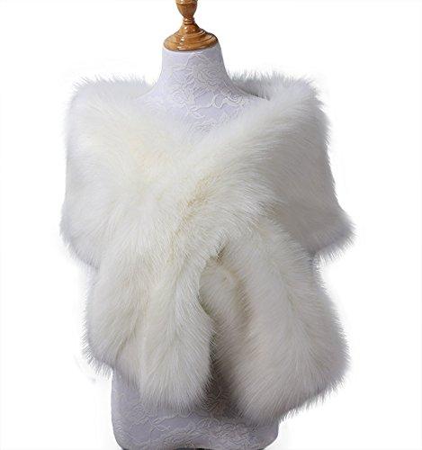 Kevins Bridal Womens Faux Fur Shawl Wraps Cloak Coat Sweater Cape for Evening Party