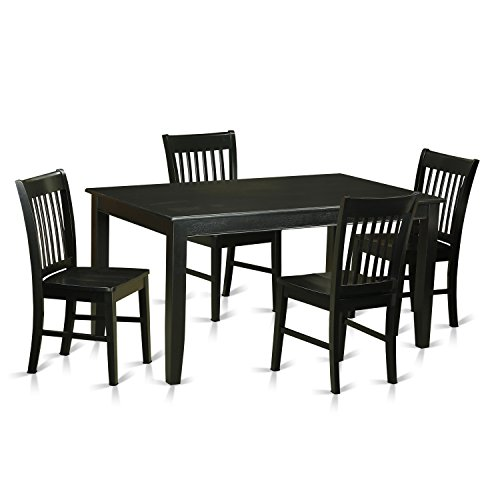 East West Furniture DUNO5-BLK-W 5 Piece Dinette Table and 4 Dining Chairs Set