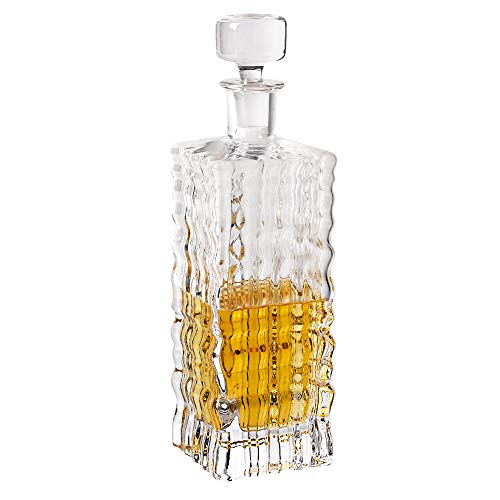 Badash Lead Crystal Decanter - Badash - Ripples Square European Mouth Blown Lead Free Crystal Decanter H11-28 oz.