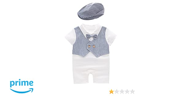 44d295d08afa Amazon.com  May s Baby Toddler Boys Bowtie Faux Vest Romper Onesie ...