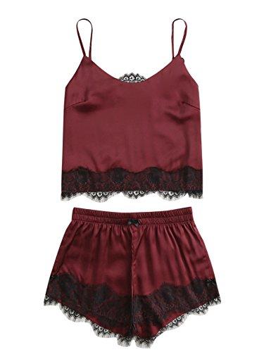 DIDK Women's Lace Trim Satin Cami and Shorts Pajama Set Wine S