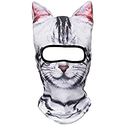 JIUSY Animal Ears Balaclava Face Mask Breathable Hood Outdoor Sports Motorcycle Cycling Ski Halloween Party American Shorthair Cat MEB-05