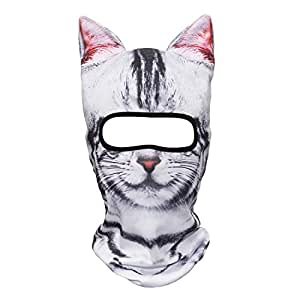 JIUSY 3D Animal Ears Breathable Balaclava Face Mask for Skiing Snowboard Cycling Motorcycle Music Festivals Raves Halloween Party Summer Winter Cold Weather Outdoor Sport American Shorthair Cat MEB-05