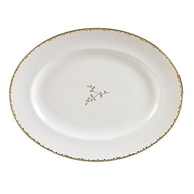 Wedgwood Gilded Leaf Oval Platter 13.75 , White