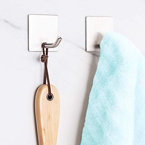 Adhesive Hooks Wall Hooks Heavy Duty Stainless Steel Hooks for Hanging Towels Key Apply to Bathroom Home Kitchen Office 6 Packs