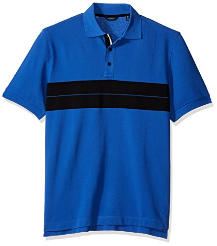Nautica Men's Short Sleeve Color Block Polo Shirt, French Blue, X-Large