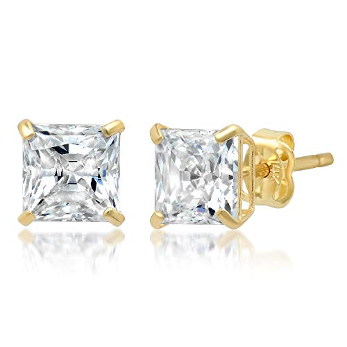 (14k Solid Yellow Gold PRINCESS Stud Earrings with Genuine Swarovski Zirconia | 2.0 CT.TW. | With Gift Box)